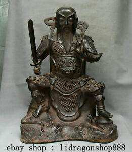 24-034-XuanDe-Ancien-Chine-Bronze-Taoism-XuanWu-Dadi-Emperor-Dieu-Statue-Sculpture
