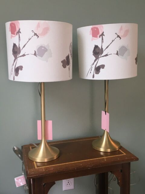 NWT Kate Spade Table Lamp Willow Court Floral Coral White ...