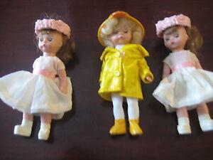 Rare-Lot-HTF-Madame-Alexander-dolls-4-5-034-Wendy-Flower-Girls-It-039-s-Raining-Dorothy