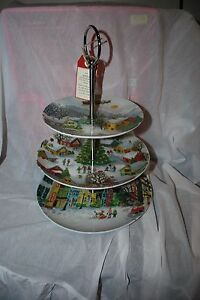 Pottery Barn Winter Village 3 Tiered Serving Stand Brand