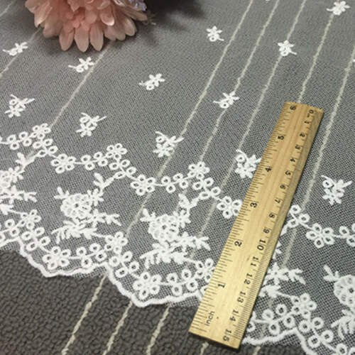 35cm Wide White Mesh Cloth Lace Trim Ribbon Applique Wedding Cutain Sewing DIY