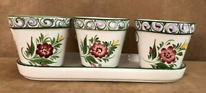 RCCL-Portugal-pottery-Ceramic-Hand-Painted-flower-pots-in-tray-set-of-3