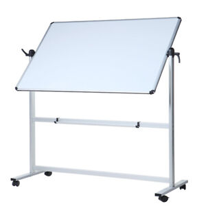VIZ-PRO Magnetic Mobile Dry Erase Board 48'' x 36'' White Board With Stand