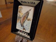 RAINBOW TROUT JUMPING OUT OF WATER FLY FISHING ZIPPO LIGHTER MINT IN BOX