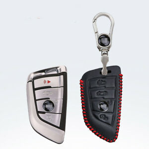 For-BMW-X1-X5-X3-X6-Car-key-case-holder-cover-remote-fob-Red-Stitch-4-buttons