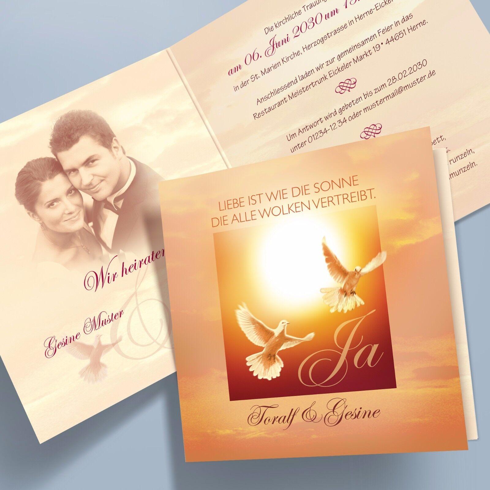 Einladungskarten Hochzeit, Klappkarten pers., Tauben, Sonne  – 32 quadratisch | Ausgang  | Qualität und Quantität garantiert