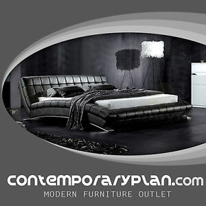 Chobham HD Contemporary Leather Platform Bed with Modern Steel Arch