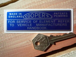COOPERS-Air-Filter-Classic-Car-STICKER-Restoration-Racing-Jaguar-E-type-Daimler