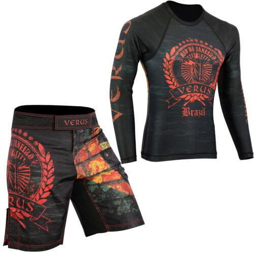 VERUS Brazil MMA Shorts /& Rash Guards Set BJJ Grappling No Gi Wear Jiu Jitsu UFC