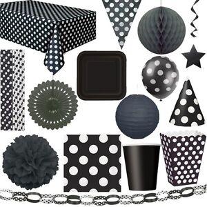 schwarze punkte party geburtstag dekoration kindergeburtstag set deko schwarz ebay. Black Bedroom Furniture Sets. Home Design Ideas