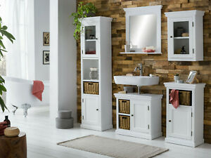 Badmobel Set Holz Weiss 5teilig Badschrank Hochschrank Spiegel