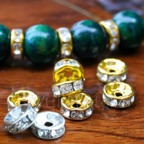 20 Rhinestone Crystal Rondelle Spacer Beads Silver Gold Plated Jewellery Making