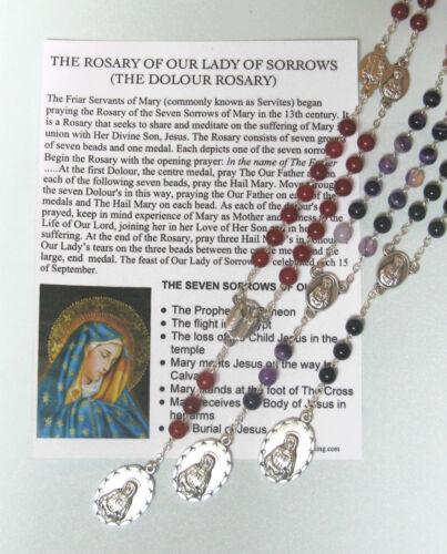 Dolour Rosary with Prayer card CHOICE OF GEMSTONE BEADS