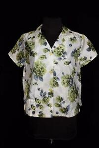 RARE-FRENCH-VINTAGE-1960-039-S-NYLON-GREEN-AND-GREY-FLORAL-BLOUSE-SIZE-LARGE