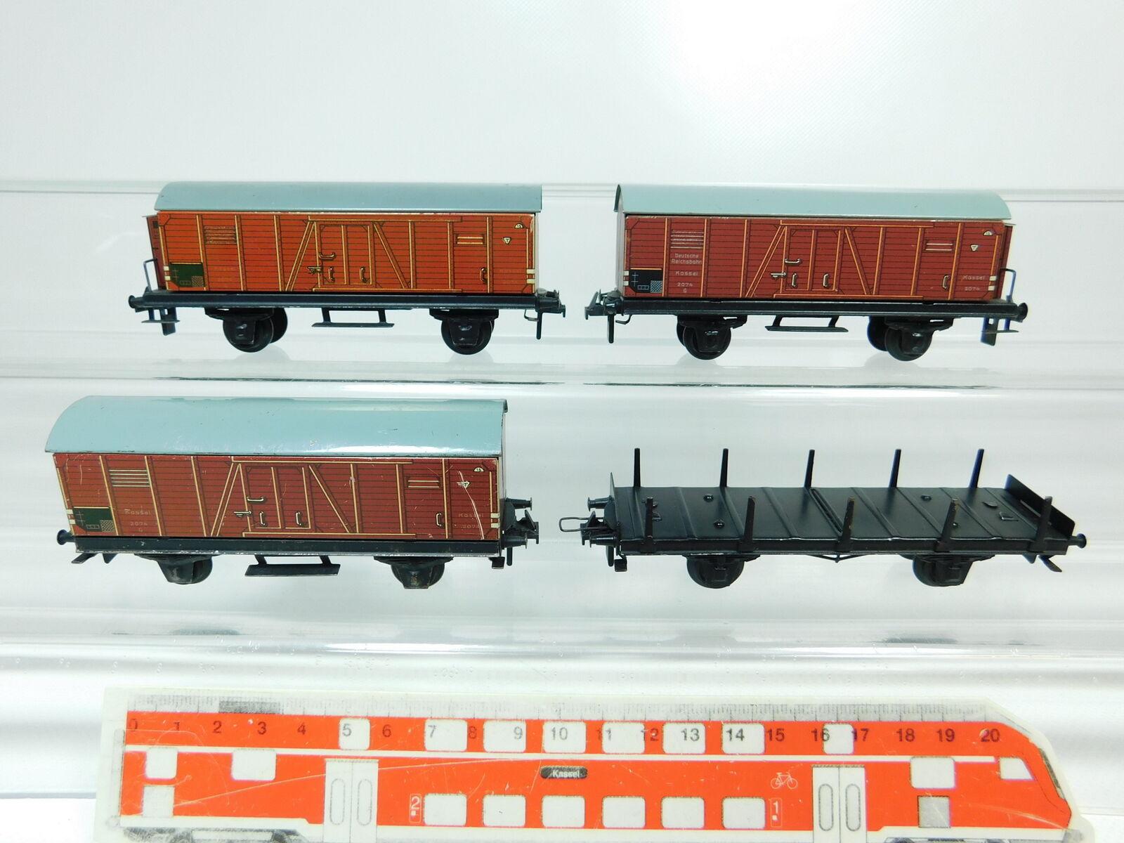 BP743-0, 5 x Trix Express H0 Dc Tin Goods Wagons  2074 G Kassel + Stake Wagon