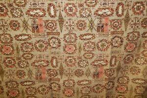 4-Vtg-Mid-Century-Barkcloth-Curtain-Panels-Pink-Brown-Sage-Pattern-61-034-x-43-5-034