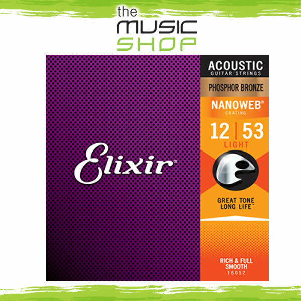12x Elixir Nanoweb 12-53 Phosphor Bronze Acoustic Guitar Strings- 16052 Bulk Box