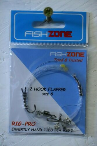 FishZone 2 hook flapper size 6 scratching rig sea fishing rig