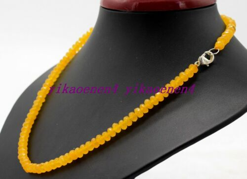 """Natural Fine 4x6mm Yellow Jade Faceted Rondelle Gemstone Beads Necklace 18/""""AA"""