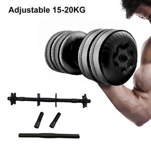 2x-Ajustable-MANCUERNAS-BARBELL-lleno-de-agua-levantamiento-de-pesas-Gimnasio-Entrenamiento-Fitness