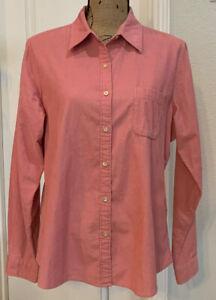 LL-Bean-LS-100-Cotton-Pink-Corduroy-Button-Front-Shirt-Top-size-L