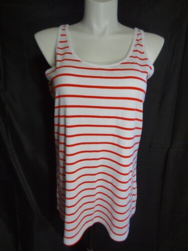 Lane Bryant sleeveless pretty perfect cotton stretch red white tank top 26//28