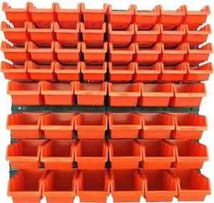 60-teiliges-SET-Lagersichtboxenwand-Stapelboxen-mit-Montagewand-Werkzeugwand