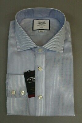 Charles Tyrwhitt Men/'s Slim Fit Non-Iron Stripe Shirt Blue and White BP4 16.5//34