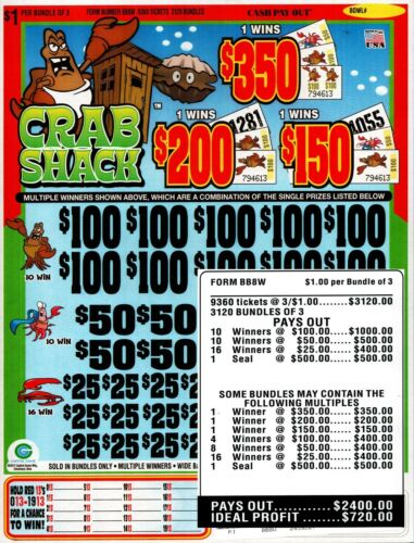 9360 3/'s CRAB SHACK Bingo Pull Tab Seal Card 20-$100/'s JAR TICKETS!!