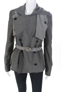 Stella McCartney Womens Belted Double Breasted Jacket Gray Wool Size FR 40