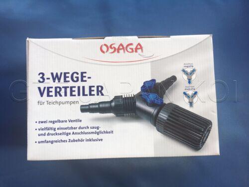 Osaga 3 Wege Y-Verteiler mit 2 x Kugelhahn Skimmer Teichpumpe Schlauch Anschluß