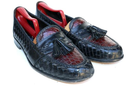 Bragano Italy Black Brown Alligator Leather Woven
