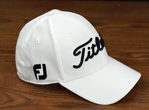 Titleist Golf Dobby Tech Lightweight Fitted Hat Cap White Black M L ... 7bf79a338d1