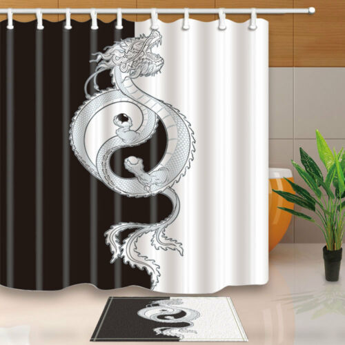 Flying Oriental Dragon Shower Curtain Bathroom Fabric /& 12hooks Yin-Yang symbol