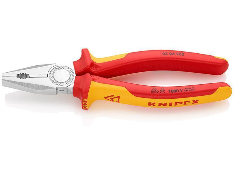 Knipex Kombizange verchromt isoliert mit Mehrkomponenten-Hüllen, VDE-geprüft 200