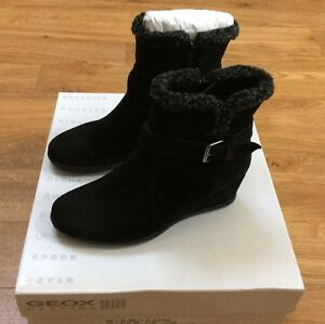0c0e5a483b Ladies Geox Black Suede Wedge Ankle Boots Size Eu 35 Uk 2.5 | eBay