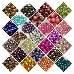 BUY-3-GET-3-FREE-400x4mm-200x6mm-100x8mm-50x10mm-Glass-Pearl-Beads-UK-SELLER