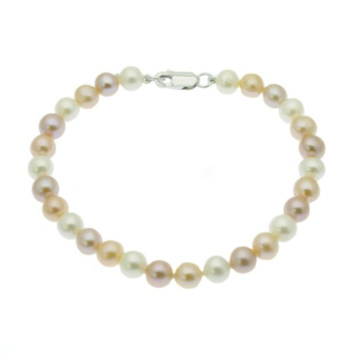 Pearl Bracelet Round Cultured Freshwater Pearls Sterling Silver White Pink Multi