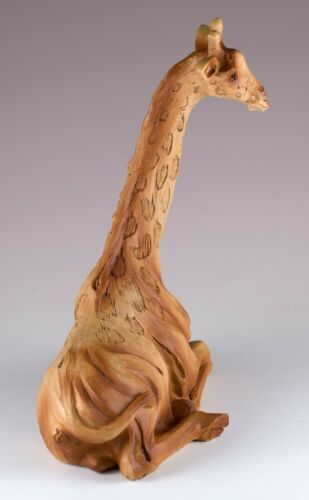 """Giraffe Laying Faux Carved Wood Look Figurine 6/"""" High Resin Statue New"""