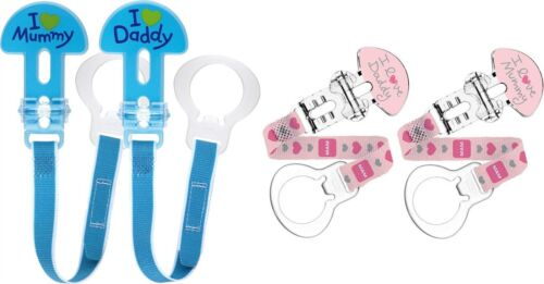 MAM CLIP DOUBLE PACK Baby//Toddler Soother//Dummy Clip Blue//Pink BNIP