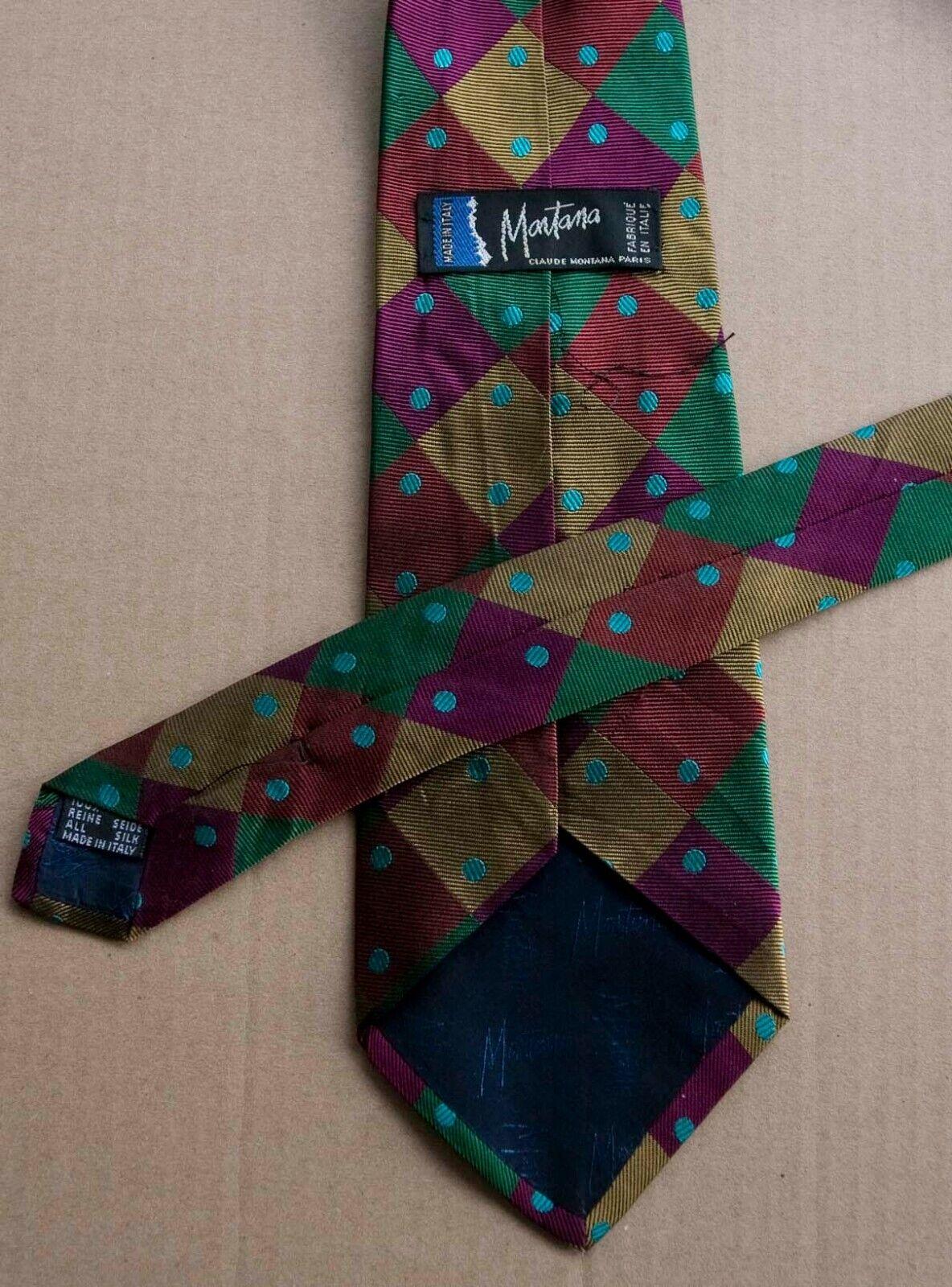 MONTANA Mens Tie Necktie Black Grey Orange Diagonal Stripes 100/% Silk ITALY