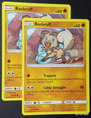 Set 2X ROCKRUFF 73//145 Italiano POKEMON Sole Luna Guardiani Nascenti