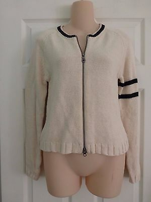 Harley-Davidson Long Sleeve Full Zip Sweater Womens Ivory Embroidered Sz. XS