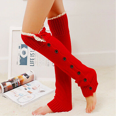 Women LEG WARMER Winter Warm Crochet Lace Trim Button Down Knit Boot Socks Knee