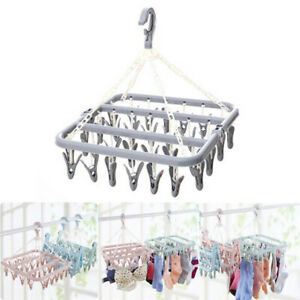 32Pegs-Foldable-Plastic-Clothes-Hanger-Sock-Dryer-Organizer-Underwear-Rack-Airer