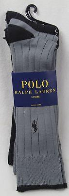 UnermüDlich Polo Ralph Lauren 3 Paar Formelle Socken Grau Schwarz Nwt