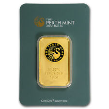 10 oz Perth Mint Gold Bar .9999 Fine In Assay - SKU #57160