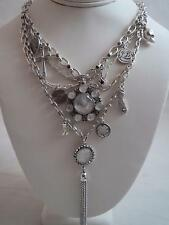 Lucky Brand silver tone multistrand~cross~shamrock~skull~stone necklace, NWT
