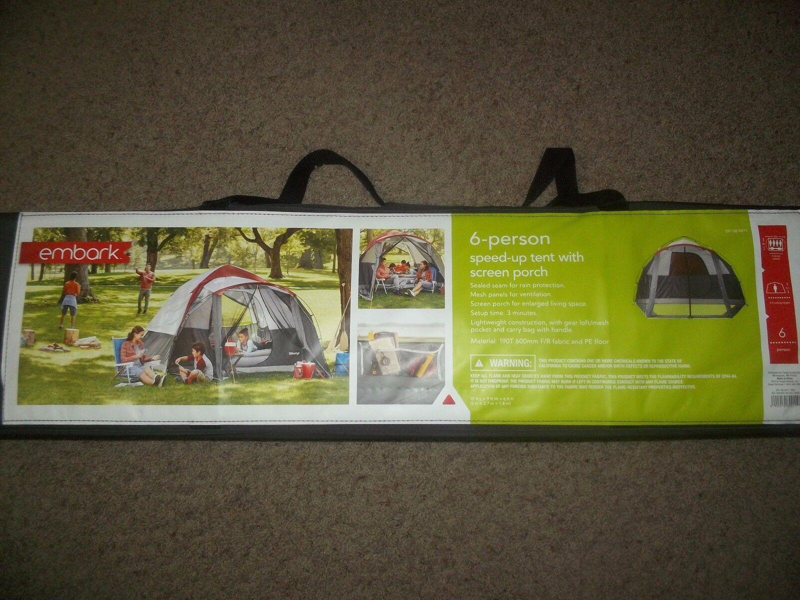 Nuevo Tienda de 6 personas instantánea embarcarse con pantalla porche 3 minuto instalación Camping Nuevo En Caja