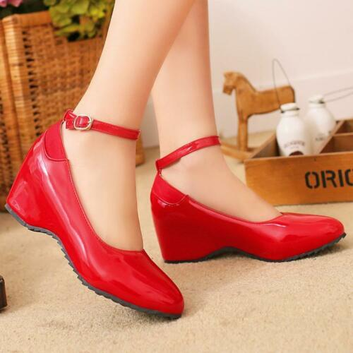 Sweet Women/'s Patent Leather Wedge Strappy Buckle Shoes Shiny Shoes Colors A50